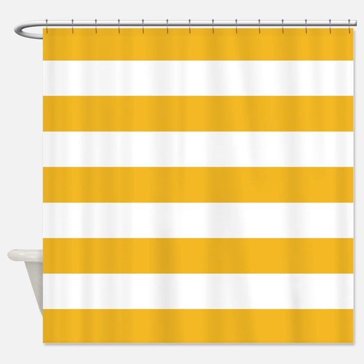 Yellow and white stripe Shower Curtain