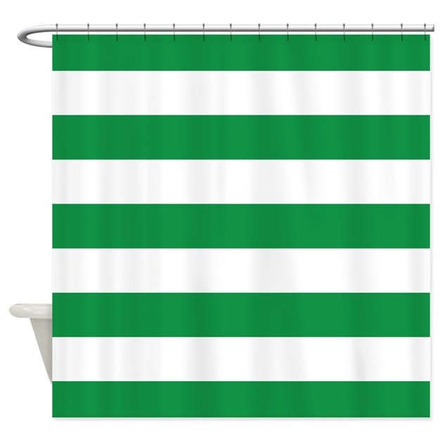 Green And White Stripe Shower Curtain By Inspirationzstore