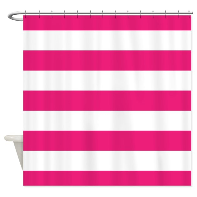 Hot Pink And White Stripe Shower Curtain By InspirationzStore