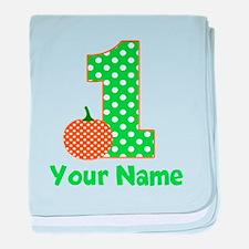 1st Birthday Pumpkin Green baby blanket