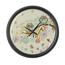 Autumn Owl Large Wall Clock