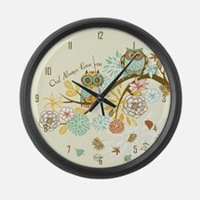 Autumn Owl Large Wall Clock