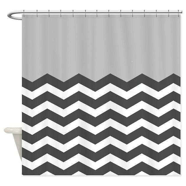 Grey Black White Chevron Shower Curtain By InspirationzStore