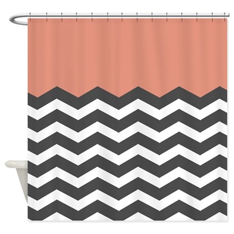 Coral Black White Chevron Shower Curtain By InspirationzStore