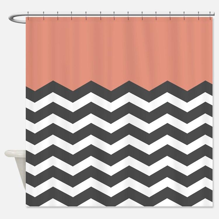 Chevron Striped Orange Shower Curtains | Chevron Striped Orange ...