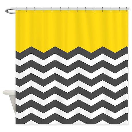 Yellow Black White Chevron Shower Curtain By InspirationzStore
