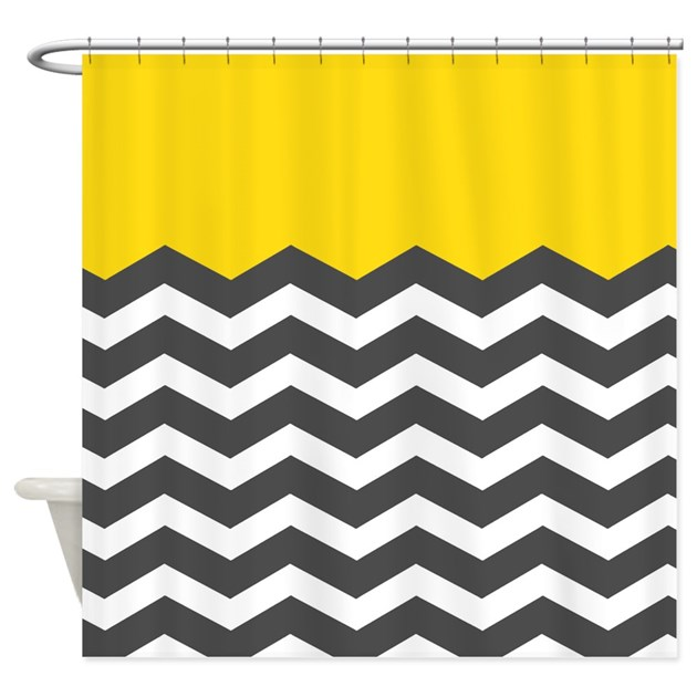 black white chevron shower curtain.  Yellow Black White Chevron Shower Curtain by InspirationzStore