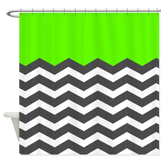 Green Black White Chevron Shower Curtain By InspirationzStore
