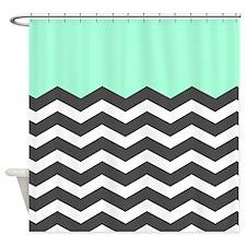 Mint Black White Chevron Shower Curtain