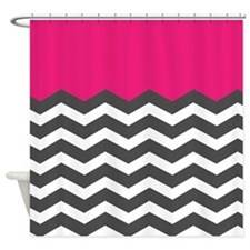 Hot Pink Chevron White Chevron Shower Curtain