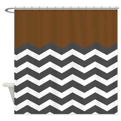 Brown Black White Chevron Shower Curtain By InspirationzStore