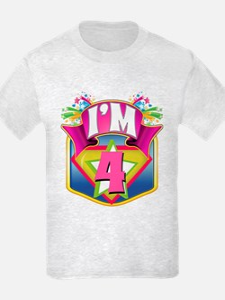 Pink Super Hero 4th Birthday T-Shirt