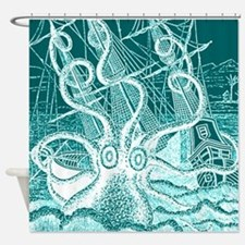 Turquoise Octopus Attack Shower Curtain
