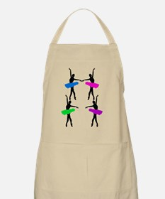 Colorful ballerinas pink purple blue green Apron