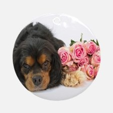 Black Cavalier King Charles With Roses Ornament (R