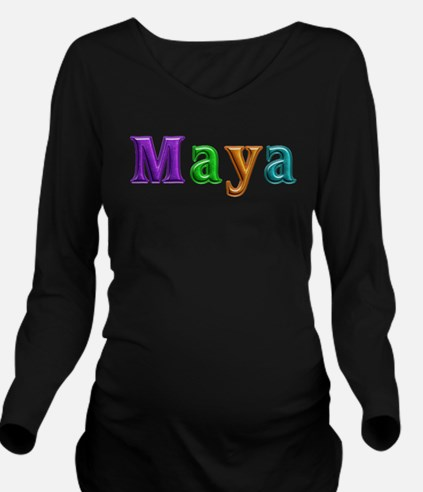 Maya Shiny Colors Long Sleeve Maternity T-Shirt