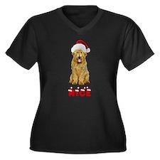 Nice Goldendoodle Women's Plus Size V-Neck Dark T-