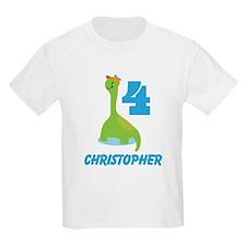 Personalized 4th Birthday Dinosaur Boys T-Shirt