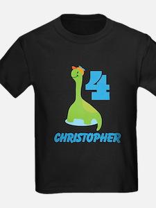 Personalized 4th Birthday Dinosaur Boys T