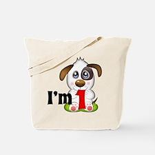 1st Birthday Puppy Tote Bag