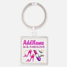 SWEET 16TH Square Keychain