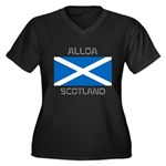Alloa Scotland Women's Plus Size V-Neck Dark T-Shi