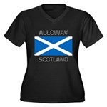 Alloway Scotland Women's Plus Size V-Neck Dark T-S