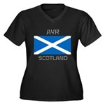 Ayr Scotland Women's Plus Size V-Neck Dark T-Shirt