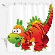 Red Striped Dinosuar Shower Curtain