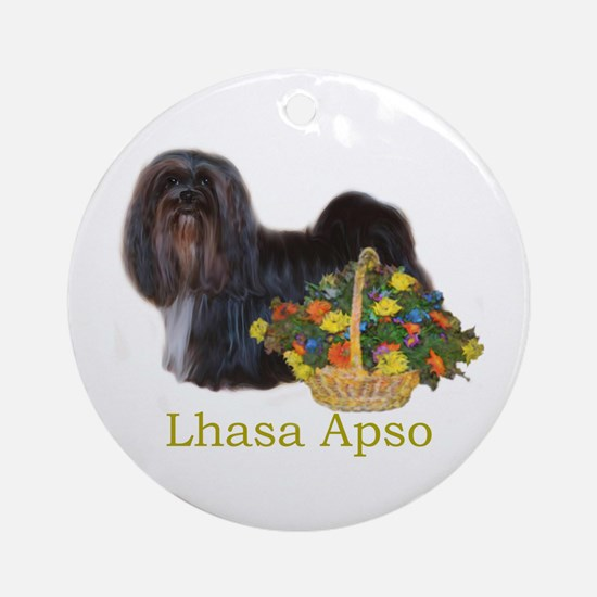 Lhasa Apso Easter Spring Nena Round Ornament