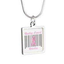 Beating Cancer Priceless Silver Square Necklace