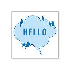 Hello, blue cloud with birds, text design Sticker