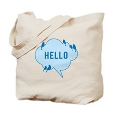 Hello, blue cloud with birds, text design Tote Bag