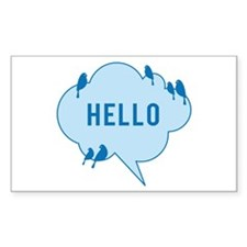 Hello, blue cloud with birds, text design Decal
