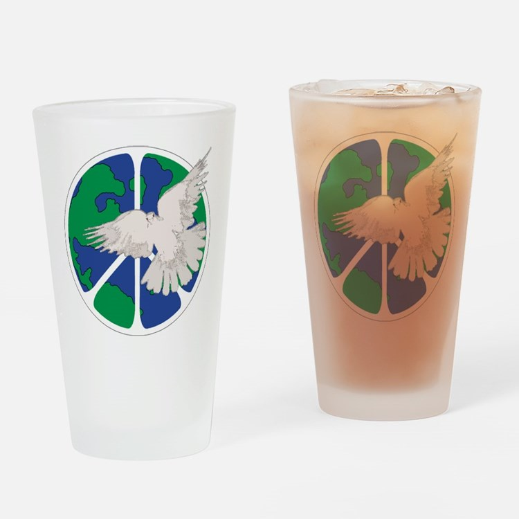 Peace Sign & Dove Drinking Glass