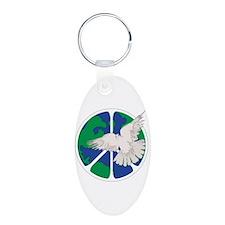 Peace Sign & Dove Aluminum Oval Keychain
