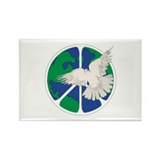 Peace Sign & Dove Rectangle Magnet
