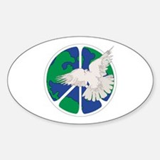 Peace Sign & Dove Sticker (Oval)