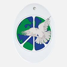 Peace Sign & Dove Ornament (Oval)