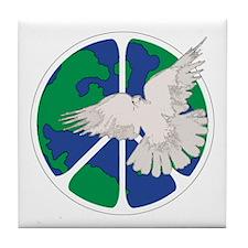 Peace Sign & Dove Tile Coaster