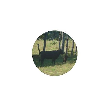 angus cow & calf Mini Button