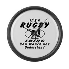 Rugby Thing Designs Large Wall Clock