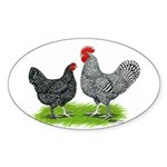 Marans Rooster and Hen Oval Sticker