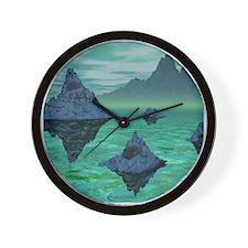 Green Alien World Wall Clock