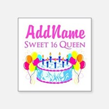 "SWEET 16 QUEEN Square Sticker 3"" x 3"""