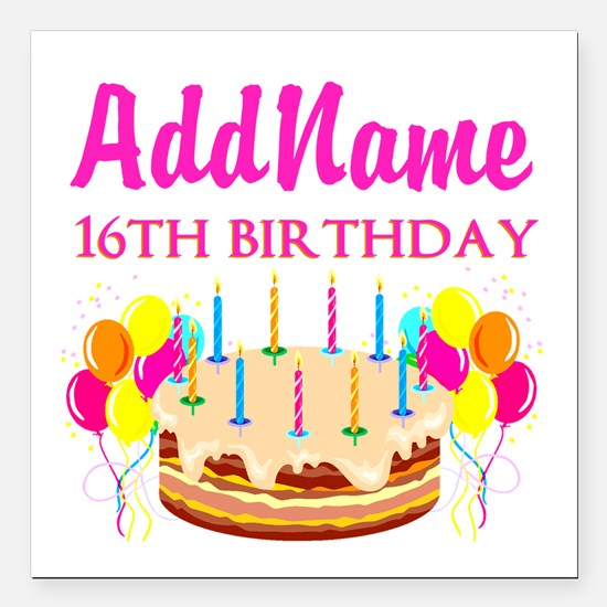 "16TH BIRTHDAY Square Car Magnet 3"" x 3"""
