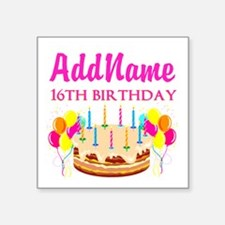 "16TH BIRTHDAY Square Sticker 3"" x 3"""