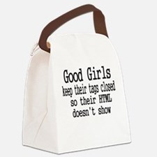 Good Girls Close HTML Tags Canvas Lunch Bag