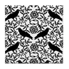 Raven Pattern Tile Coaster