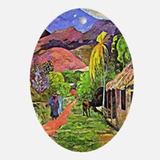 Road in Tahiti, tropical painting by Oval Ornament